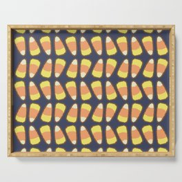 Candy Corn Tango in Navy Serving Tray