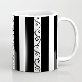 Stripes and Thorny Vines by Dark Decors - Black and Whites Coffee Mug