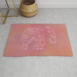 Pink Boho Elephant On Terracotta Rug