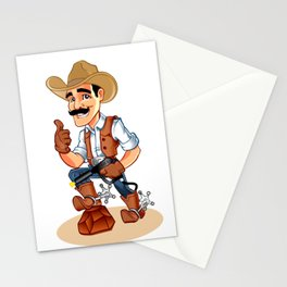 Illustration of a cowboy  with pistol Stationery Cards