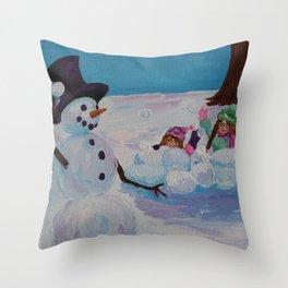 Snowman Play 4 Throw Pillow