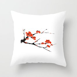 Asian style painting - Plum Blossom Throw Pillow