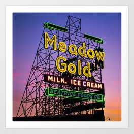 Tulsa Neon - Rt 66 Meadow Gold - Square Format Art Print