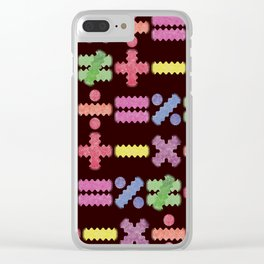 Seamless Colorful Abstract Mathematical Symbols Pattern II Clear iPhone Case