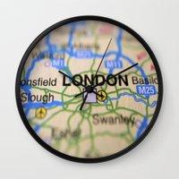 london map Wall Clocks featuring London Map by Brian Raggatt