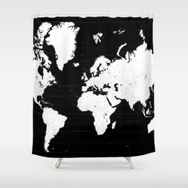 "Black and white highly detailed world map with cities, ""Mason"" Shower Curtain"