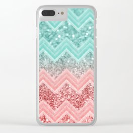 Summer Vibes Glitter Chevron #1 #coral #mint #shiny #decor #art #society6 Clear iPhone Case