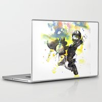 luigi Laptop & iPad Skins featuring Luigi Riding Yoshi by idillard