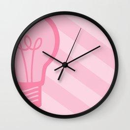 Pastel Pink Light Bulb Wall Clock