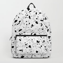 Black White and Grey Speckles Terrazzo Monochrome Dots Patter Backpack
