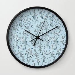 Blue, White, Black and Gray Floral Pattern Wall Clock