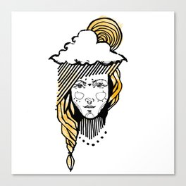 Girl with sun in the head Canvas Print