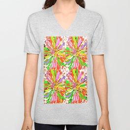 Dahlia Colorburst Abstract #1 Unisex V-Neck