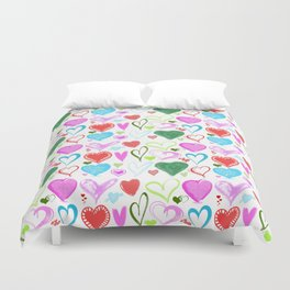 Love, Romance, Hearts - Red Blue Pink Green Duvet Cover