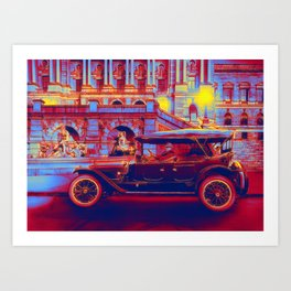 1920 Herbert E. French in a Packard touring car at the Library of Congress at dusk Neon art by Ahmet Art Print
