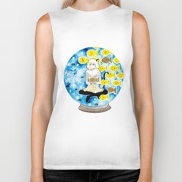Cat girl with fishes and snow Biker Tank