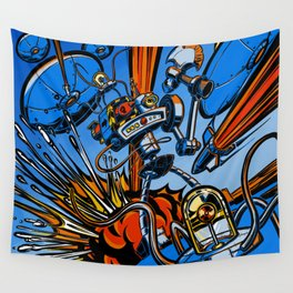 Retro Robot and Flying Saucers Wall Tapestry