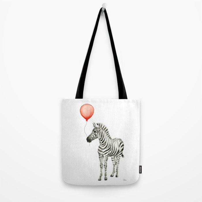 Baby Zebra Whimsical Animal with Red Balloon Nursery Art Tote Bag