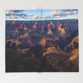 South Rim - Grand Canyon Illuminated in Evening Sunlight Throw Blanket