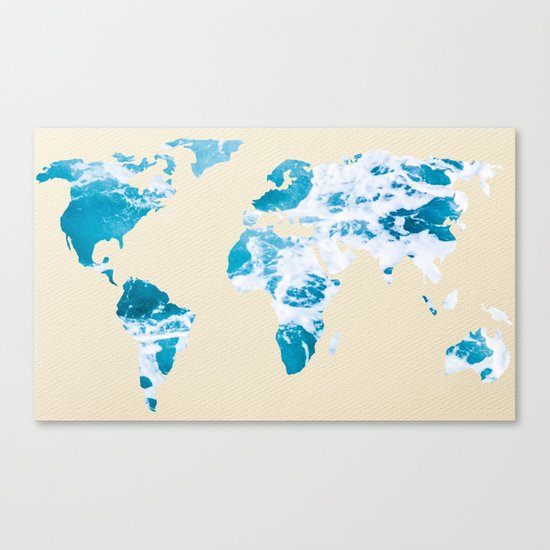 Ocean World Map Sea and Sand Canvas Print