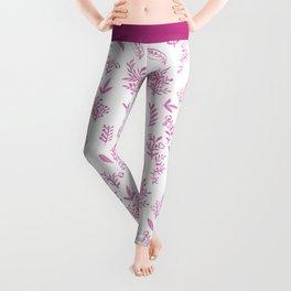 Pink watercolor hand painted floral leaves pattern Leggings