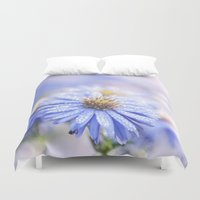 biology Duvet Covers featuring Blue Aster in LOVE  by UtArt