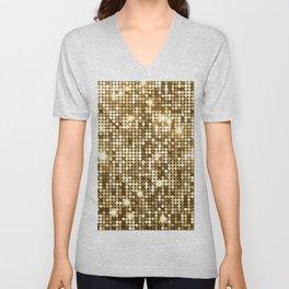 Golden Metallic Glitter Sequins Unisex V-Neck