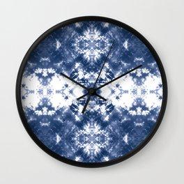 Shibori Tie Dye 4 Indigo Blue Wall Clock