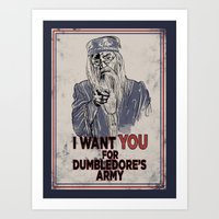 dumbledore Art Prints featuring Uncle Dumbledore by spacemonkeydr