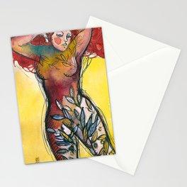 donna albero con capelli rossi Stationery Cards