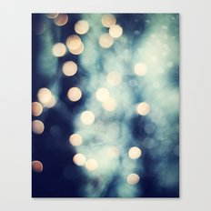 Bokeh Lights Sparkle Photography, Navy Gold Sparkly Abstract Photograph Canvas Print