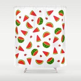 Watermelon&ladybug Shower Curtain