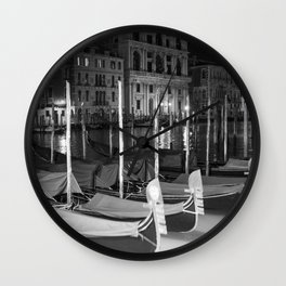 Gondolas in the night Venice Italy black and white Wall Clock