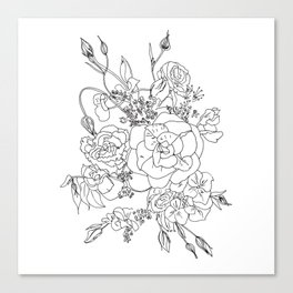 Floral Ink - Black & White Canvas Print