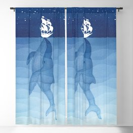 Whale & ship Blackout Curtain