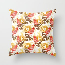 Cardinal Chickadee Pattern Throw Pillow