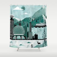 vancouver Shower Curtains featuring Vancouver Travel Poster Illustration by ClaireIllustrations