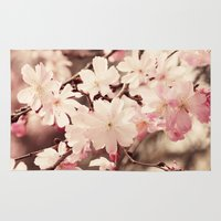 cherry blossom Area & Throw Rugs featuring Cherry Blossom by Erin Johnson
