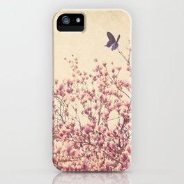 Butterfly and Pink Blossoms iPhone Case