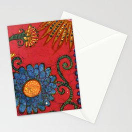 batik butterflies and flowers on red 2 Stationery Cards