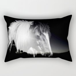 Horse Black And White Landscape Rectangular Pillow