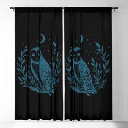 Owl Moon - Blue Blackout Curtain