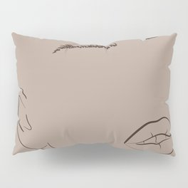 Abstract woman portrait face in minimalistic line style.  Pillow Sham
