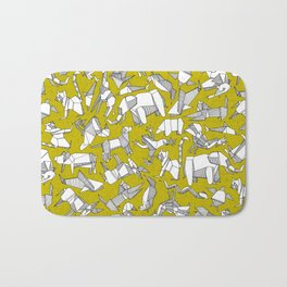 origami animal ditsy chartreuse Bath Mat