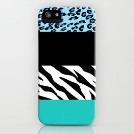 Animal Print, Zebra Stripes, Leopard Spots - Blue iPhone Case