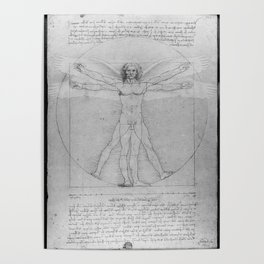 Leonardo da Vinci Vitruvian Man with Wings Study of Angels Poster