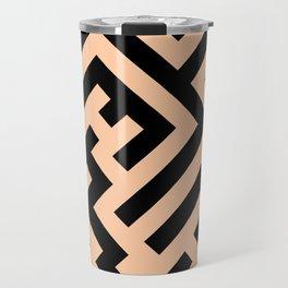 Black and Deep Peach Orange Diagonal Labyrinth Travel Mug