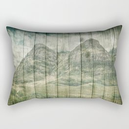 Rustic Country Wood Mountains Landscape Rectangular Pillow