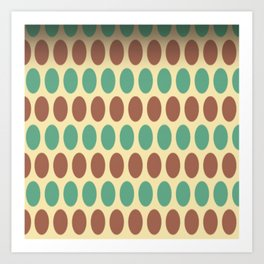 Circle Pattern Yellow Brown Patterns Art Print