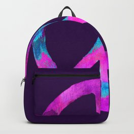 Purple Turquoise Watercolor Tie Dye Peace Sign on Purple Backpack